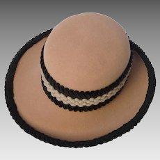 Vintage 60s Archie Eason Hat, Camel Wool with Velvet Hatband & Trim