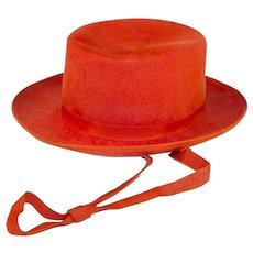 Vintage 60s Wide Brim Orange Hat, Wool Felt, Adjustable Ribbon Tie, Hat Size 20.5