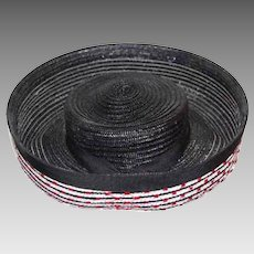 1950s Breton Straw Hat by Leslie James, Red, Black & White, Hat Size 21