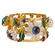"""1939 Coro """"Carmen Miranda"""" Bracelet, Gold Plate Clamper, Rhinestones"""