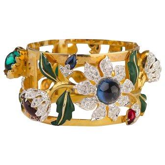 "1939 Coro ""Carmen Miranda"" Bracelet, Gold-Plated  Clamper, Rhinestones"
