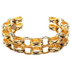 Chanel Gold Metal Fixed LInk Cuff Bracelet