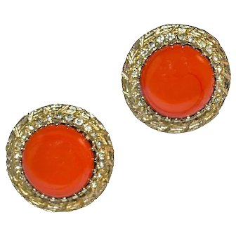 Bergere Cocktail Earrings, Orange Enamel Cabochons & Rhinestones