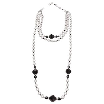 Kenneth Jay Lane Pearl (KLJ) Simulated Pearl,  Black Bead & Rhinestone Necklace