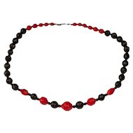 Red & Black Faceted Glass Bead Necklace