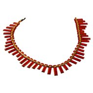 1950s Matisse Necklace, Red Enamel on Copper, Peter Pan Style