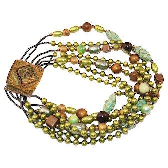 Vintage 1980s Ornella Milan, Artisan Glass & Bead Necklace