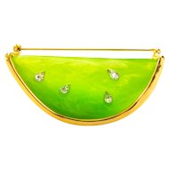 Vintage Givenchy Melon Slice Brooch, Gold Plate
