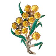 1930s Yellow Rhinestone Floral Brooch
