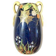 Carlton Ware Rouge Royal Blue Spiders Web Vase
