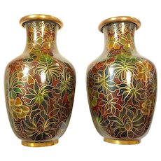 "Pair of 5"" Chinese Cloisonné Chrysanthemums Vases"