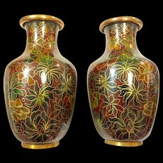 """Pair of 5"""" Chinese Cloisonné Chrysanthemums Vases"""
