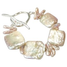 Large Square Flat Pink Pearl Bracelet Hand-knotted Fresh Water Cultured Pearls