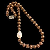 Gold Freshwater Pearl with 22mm White Baroque Like South Sea Necklace Hand Knotted