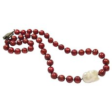 Burgundy Pearl Necklace with a 25mm Large White Baroque Pearl Like South Sea
