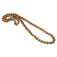 "24"" 9-10mm Gold Fresh Water Pearl Necklace"