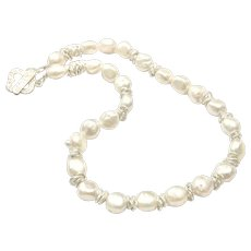 "18"" Baroque Pearls Necklace with Matte Sterling Silver Clover Toggle Clasps"