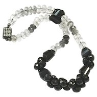 Sophisticated Black Spinel and White Quartz with Black Rutiles