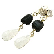 Long Dangling Earring with Black Spinel and Teardrop Clear White Quartz on Gold Plate Ear Wire Hooks with CZ