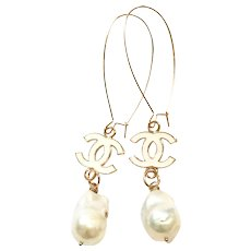 Long Dangling Earring with Large 18mm Freshwater Baroque Pearls like South Sea Pearls on a Long Rose Gold Plate Sheppard's Hook with White Enamel