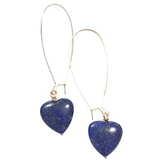 Long Dangling Earring with Heart Shape Royal Blue Lapis Lazuli on a Rose Gold Plate Sheppard's Hook