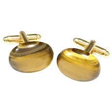 Golden Brown Tiger's Eye Real Semiprecious Stone Gold Plate Cuff Links Gift for Men