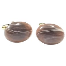 Brown and Grey Botswana Stripe Agate Real Semiprecious Stone Gold Plate Cuff Links Gift for Men