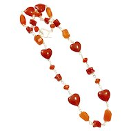Orange Carnelian And Natural Italian Red Coral Hand Coiled Handmade Chain Sterling Silver Toggle Clasp