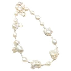 Large Baroque Freshwater Cultured Pearls Necklace Hand Wrapped Sterling Silver Clasp