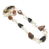"Long 25"" Chunky Rough Tourmaline Faceted Nugget and Clear Quartz Square Circles Hand Wrapped Sterling Silver Toggle Clasp"