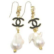 """3"""" Long Dangling Large Baroque Freshwater Culture  Pearls Earrings 25mm Like South Sea Pearls on Gold Plate Ear Wire with CZ"""