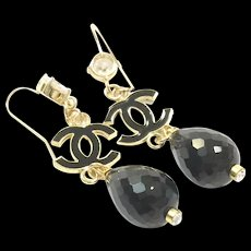 """3"""" Long Dangling Black Onyx Earring on a Gold Plate Ear Wire with CZ and Black Enamel accents"""