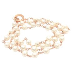 "32"" Large 10-11mm White Cultured Pearls Handmade Hand Wrapped in Rose Gold Plate Wire or Double Strand in 16"""