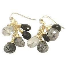 Dangling Black Onyx and Black Rutilated Quartz Tassel Earring in Gold Plate CZ Ear Wire Hook