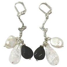 Long Dangling White Biwa Pearl Black Onyx and Clear Quartz Dangling Tree Branch Tassel Lever Back Earring in Oxidized Silver Finish