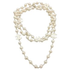"52"" Long or Triple Strands 9-10mm White Freshwater Cultured Pearls Hand Wrapped with CC Enamel Accents and Sterling Silver Clasp"