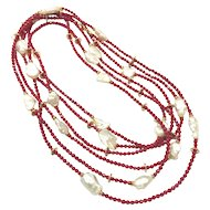 "120"" Long Red Coral and White Baroque Pearls Layered Multi-Strand Chain Necklace"