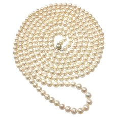 """100"""" Long 9-10mm White Freshwater Cultured Pearls Necklace Multi-Strands Layered Choker Sterling Silver Clasp Hand Knotted"""