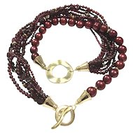 Burgundy Red Garnet and Freshwater Cultured Pearls Multi Strand Necklace