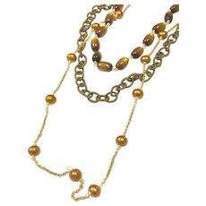 Natural Gold Coral and Pearl Layered necklace with Olive Color Silk and Matted gold Plate Chain