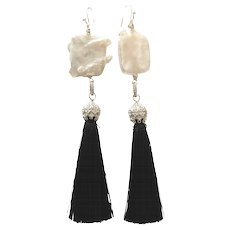 Large 30mm Square Freshwater Cultured Pearls and Black Silk Tassel Long Dangling Earring in silver Plate and CZ Pave Caps