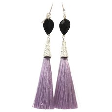 Black Onyx and Lavender Silk Tassel Long Dangling Earring with Real Silver Plate Lever Back