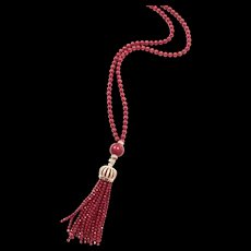 """Exceptional Red Coral Necklace 33"""" long plus 5"""" Handmade Tassel"""