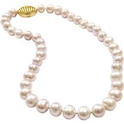 Silvery Pink Large 10-11mm Freshwater Cultured Pearls Choker Necklace with Matte Sandblasted Gold Vermeil 925 Sterling Silver Purse Clasp Baby Light Pink Large Like South Sea Pearls