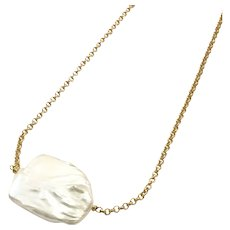 Large Square White Freshwater Cultured Pearl Matte Gold Plate Necklace