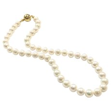 Classic 9mm - 10mm Freshwater Cultured Pearl Necklace with 18k Gold Plate Ball Clasp Hand Knotted