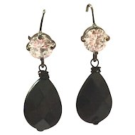 Drop Shape Black Onyx Dangling Earring on Black Ear Wire with CZ