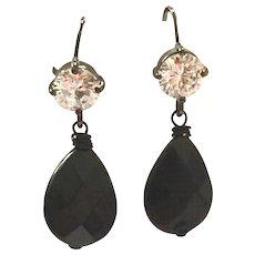 Drop Shape Black Onyx Dangling Earring on Black Ear Wire with CZ