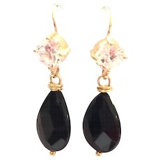 Teardrop Shape Black Onyx Dangling Earring on Yellow Gold Wire with CZ