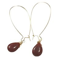 Teardrop Shape Red Carnelian Hand Wrapped on Yellow Gold Plate Ear Wire Sheppard's Hook